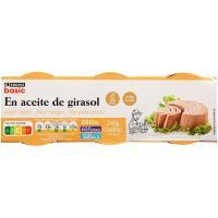 Atún claro en aceite vegetal EROSKI basic, pack 3x80 g
