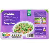 Taquitos de jamón curado EROSKI, pack 2x75 g