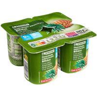 Bioactive 0% con piña EROSKI, pack 4x125 g
