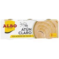 Atún claro aceite de oliva ALBO, pack 3x65 g