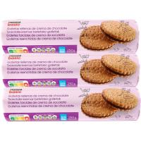 Galleta rellena de chocolate EROSKI basic, pack 3x250 g
