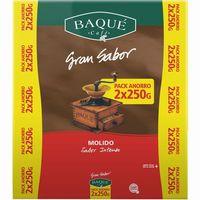 Café molido BAQUÉ Gran Sabor, pack 2x250 g