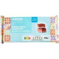 Turrón de chocolate crujiente sin azúcar EROSKI, caja 200 g