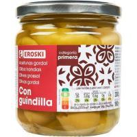 Aceitunas gordal con guindilla EROSKI, frasco 180 g