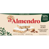 Turrón duro sin azúcar EL ALMENDRO, caja 200 g