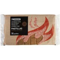 Pastilla para encendido de madera natural EROSKI, caja 32 uds.