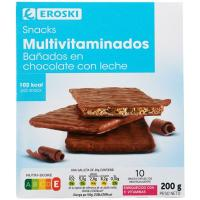 Snacks de chocolate-leche EROSKI, caja 200 g